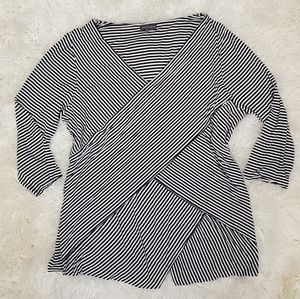 Vince Camuto Striped Wrap Tiered Top